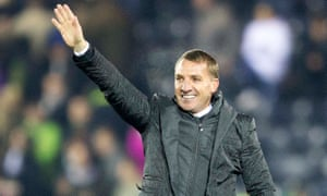 Celtic manager Brendan Rodgers waves to fans after his team beat Kilmarnock 1-0 - their seventh straight clean sheet.