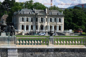 """This photograph shows the """"Villa La Grange"""" behind a barbed wire, before the meeting."""