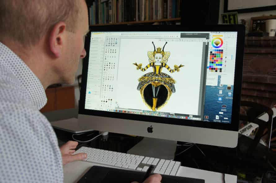 Tim Simpson of Plunge Creations working on a costume design for The Masked Singer.