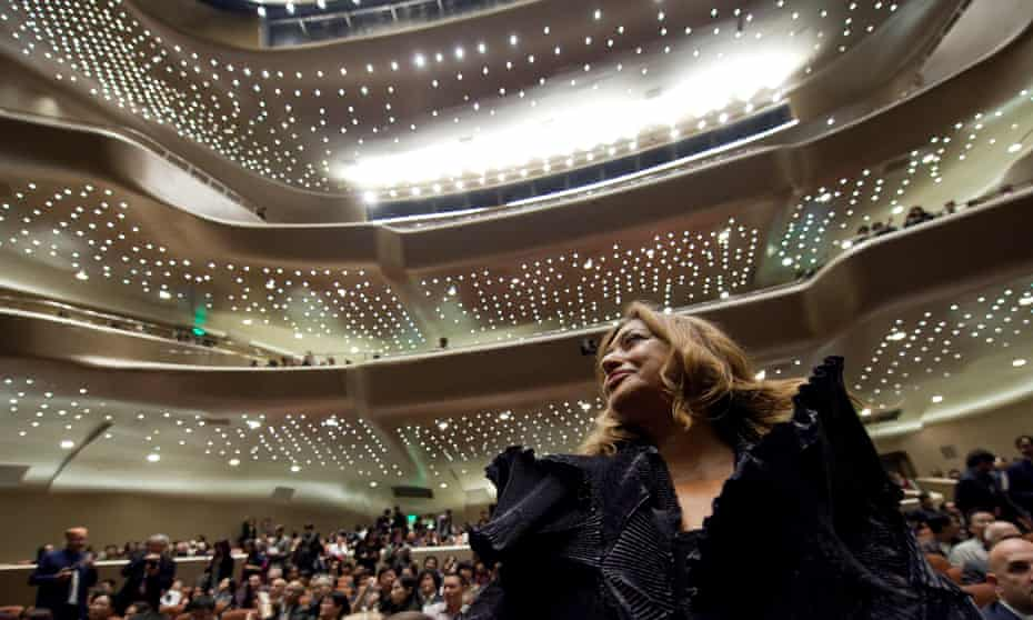 'Never failing to provoke of fascinate': Zaha Hadid in the auditorium of her Guangzhou opera house.