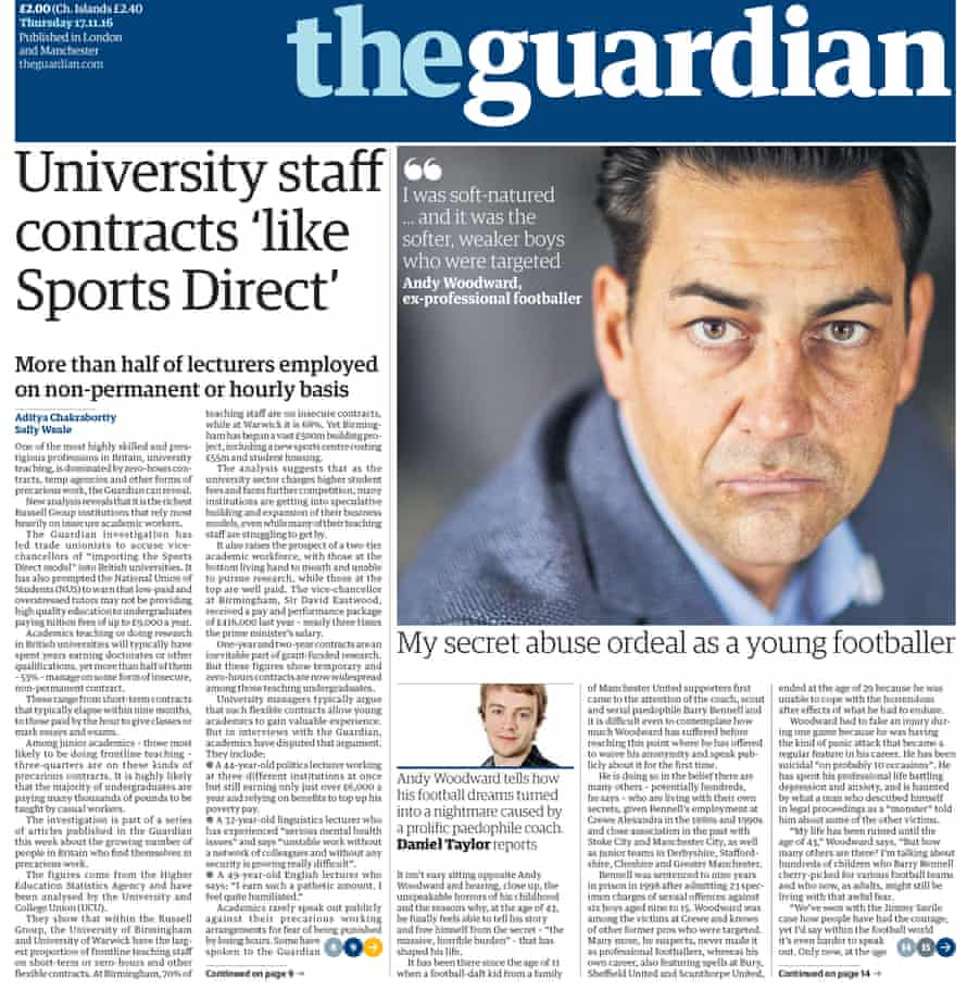 The front page of the Guardian in 2016 that told Andy Woodward's story