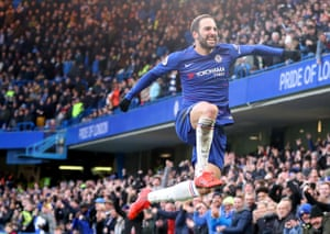 February 2: Gonzalo Higuain of Chelsea celebrates after scoring his team's first goal against Huddersfield Town at Stamford Bridge.