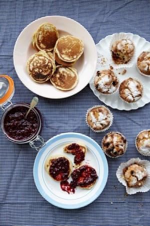 scotch pancakes raspberry jam raisin buns