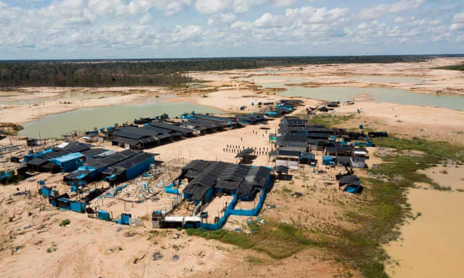 The illegal gold miners' camp Mega 12, which has been occupied by security forces since February.