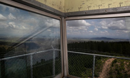 View over the pine plantation from the Kowen Forest fire tower near Canberra.