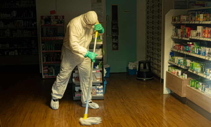 Cleaning teams at work at County Oak medical centre after the centre was closed due to a staff member having the virus.