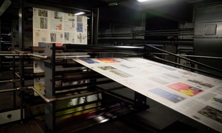 The Guardian being printed.