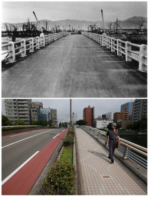 The shadows of railings that were imprinted on the road surface of Yorozuyo Bridge by the heat of the atomic bombing of Hiroshima. This location was 860 meters (2,822 ft) from the centre of the blast