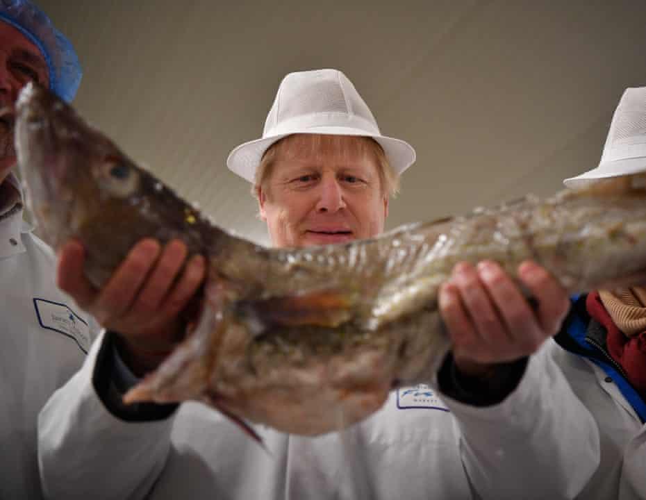 Boris Johnson on a visit to Grimsby fish market on Monday.