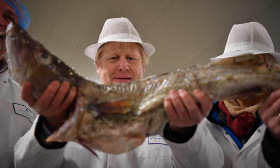 Boris Johnson visits Grimsby fish market during the election campaign.