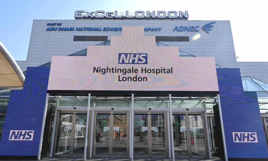 Newly installed NHS signage outside the Nightingale field hospital at the ExCel centre in London.