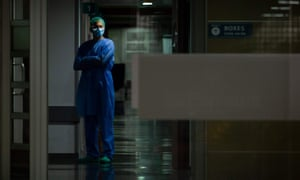 A health worker in Son Espases hospital in Palma de Mallorca, Spain.
