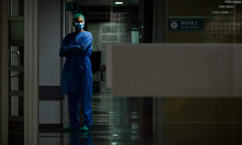 A health worker in Son Espases hospital in Palma de Mallorca, Spain.