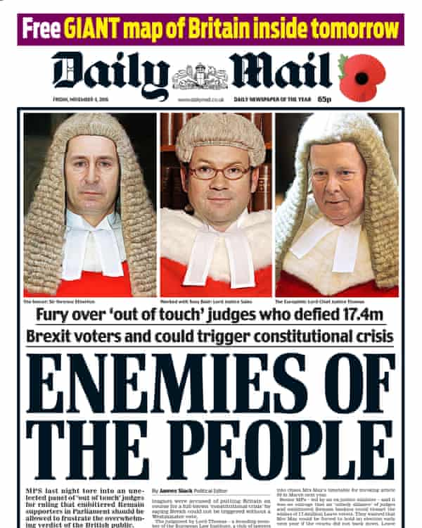 Daily Mail front page branding the high court judges 'enemies of the people'