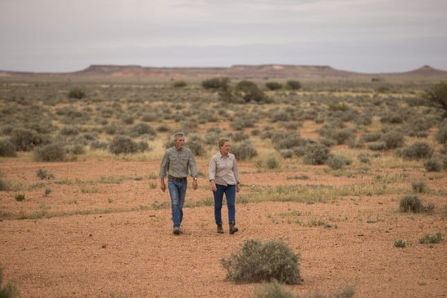 John Knight and Caroline Thomas on their property, Evelyn Downs station. Photograph: Kelly Barnes/The Guardian