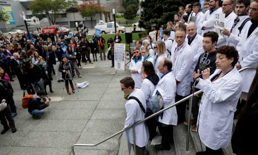 Scientists rally at the American Geophysical Union's fall meeting Tuesday, Dec. 13, 2016, in San Francisco.