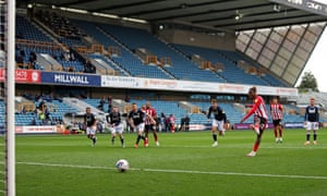 Brentford's Ivan Toney converts from the spot against Millwall.