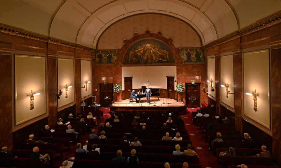 Socially distanced audiences in Wigmore Hall for a performance by Christian Gerhaher and Gerold Huber in 2020.