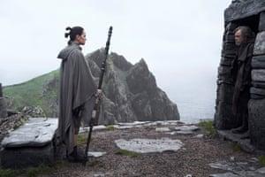 Rey (Daisy Ridley) and Luke Skywalker (Mark Hamill) in The Last Jedi