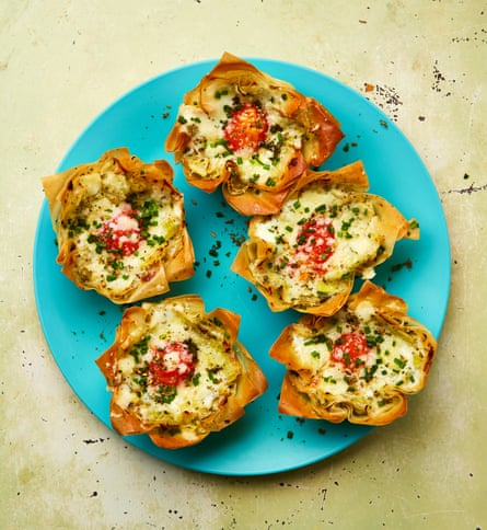 Yotam Ottolenghi's eggs in filo nests with cheesy leeks and za'atar.