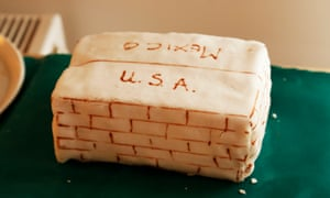 A cake inspired by Trump's pledge to build a wall between Mexico and the US