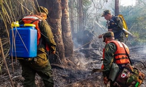 Soldiers fight a forest fire at the Indio Maiz biological reserve, near the community of San Juan de Nicaragua.