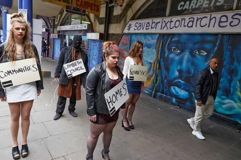 Anti-gentrification protestors outside Brixton arches