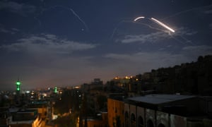 Syrian air defence batteries responding to missiles targeting Damascus