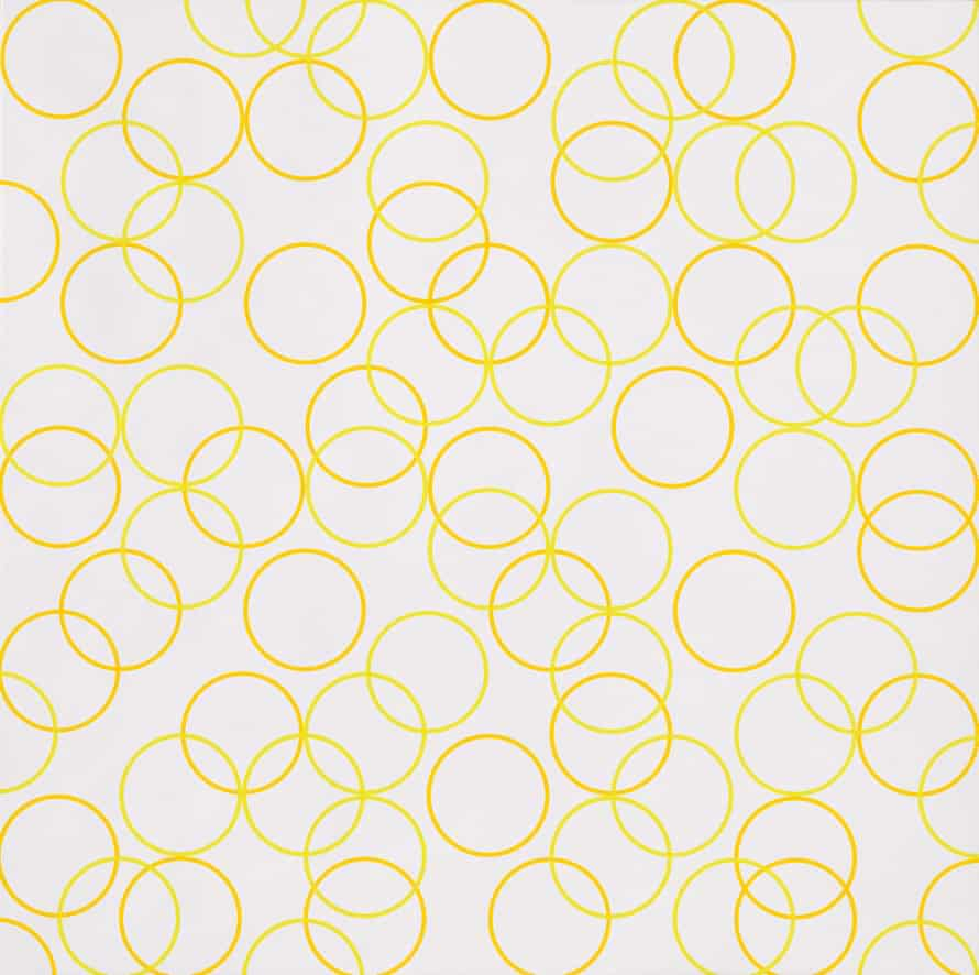 A 'fizz of yellow circles': Two Yellows, Composition with Circles 5, 2011 by Bridget Riley.