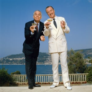 Michael Caine with Steve Martin in Dirty Rotten Scoundrels, in which the pair play competing con artists, 1988