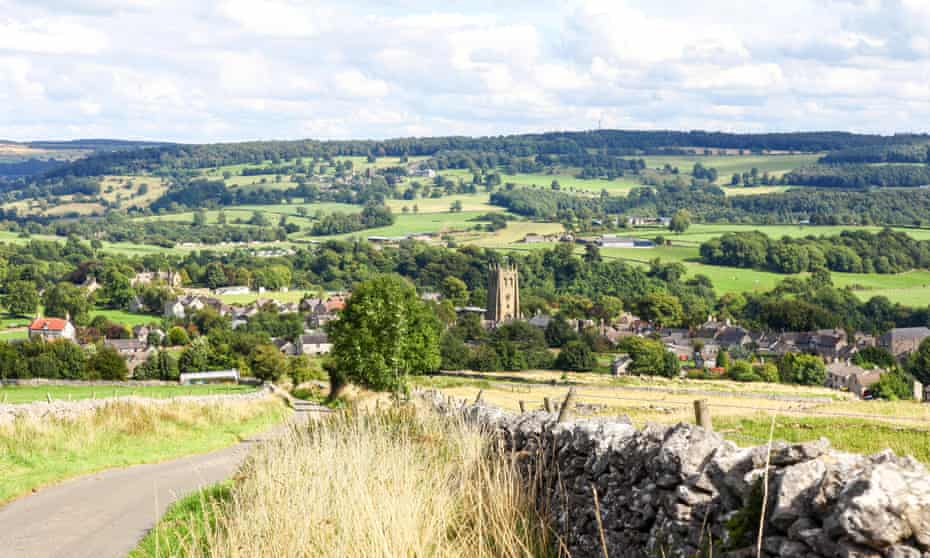 Looking down towards the village of Youlgreave, Derbyshire England UK.