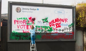 'Love Jez, h8 Brexit' reads one of the slogans on the billboard in the Labour leader's Islington constituency.