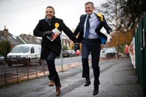 Edinburgh, Scotland Scottish Liberal Democrat leader Willie Rennie (right) and party general election campaign chairman Alex Cole-Hamilton campaign in Blackhall, Edinburgh