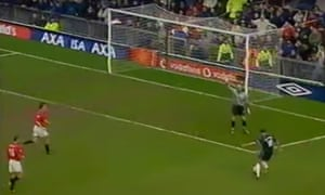 Paulo Di Canio scores with the outside of his boot as Fabian Barthez is busy appealing for offside.