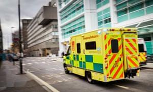 An emergency ambulance on it's way to A&E.