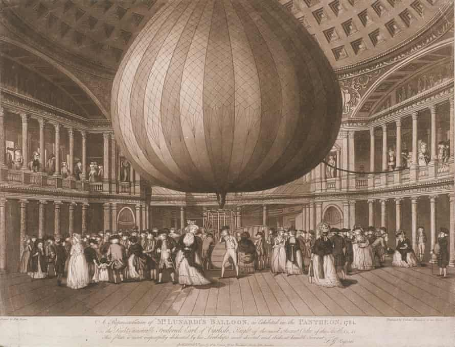 A view of the interior of the Pantheon, Oxford Street, London, showing Mr Lunardi's Balloon as exhibited in 1784. Fashionably dressed figures stand underneath the balloon and on the balcony above.