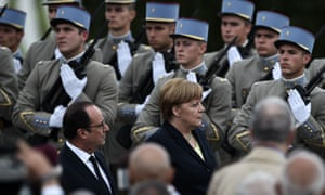 François Hollande and Angela Merkel attend a remembrance ceremony to mark the centenary of the battle of Verdun