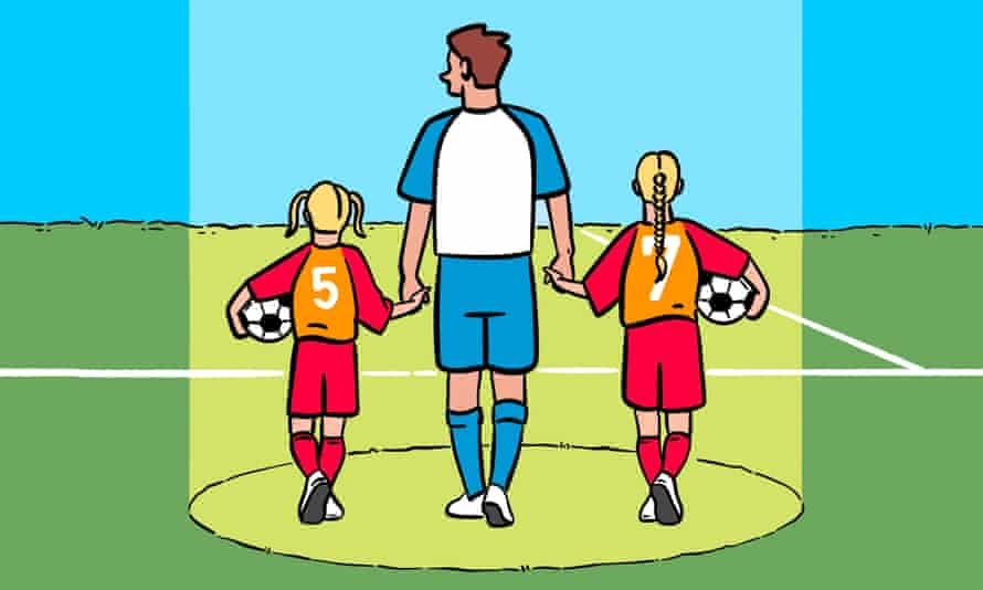 Illustration of footballer holding hands with two young female players