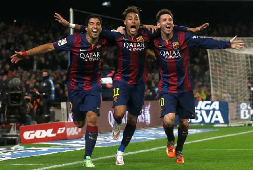 Luis Suárez, Neymar and Lionel Messi at Barcelona.