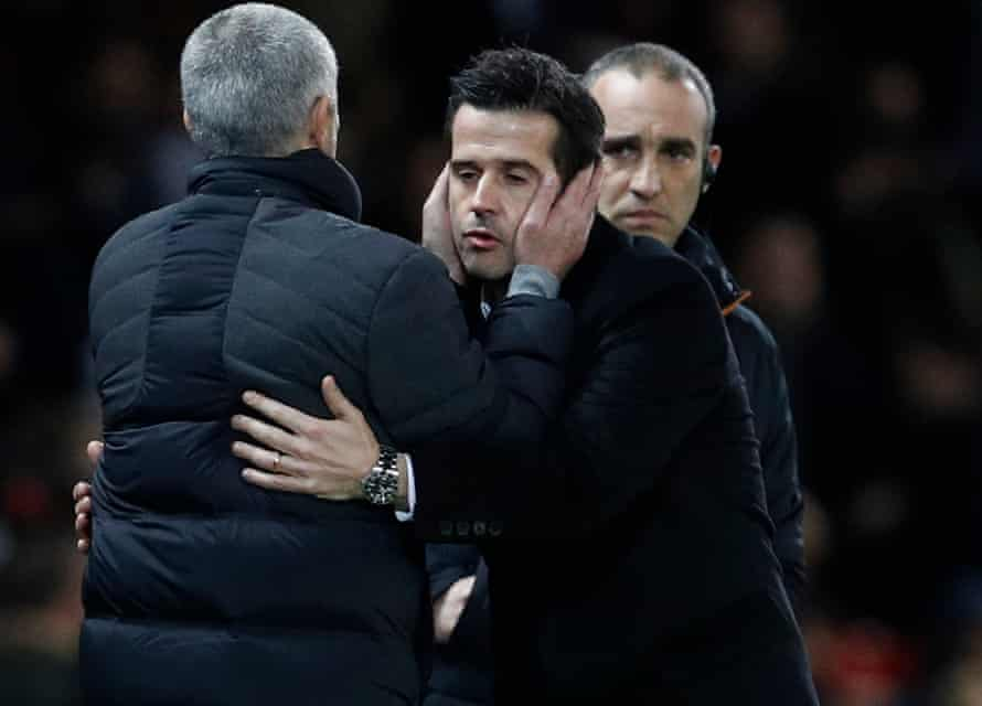 Manchester United manager José Mourinho and Marco Silva after the midweek draw.
