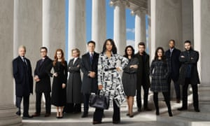 Kerry Washington (centre) with the cast of Scandal.