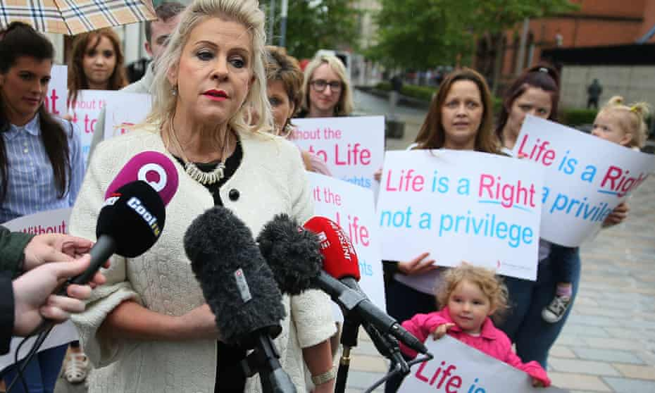 Anti-abortion campaigner Bernie Smyth outside the royal courts of justice in Belfast, 29 June 2017.