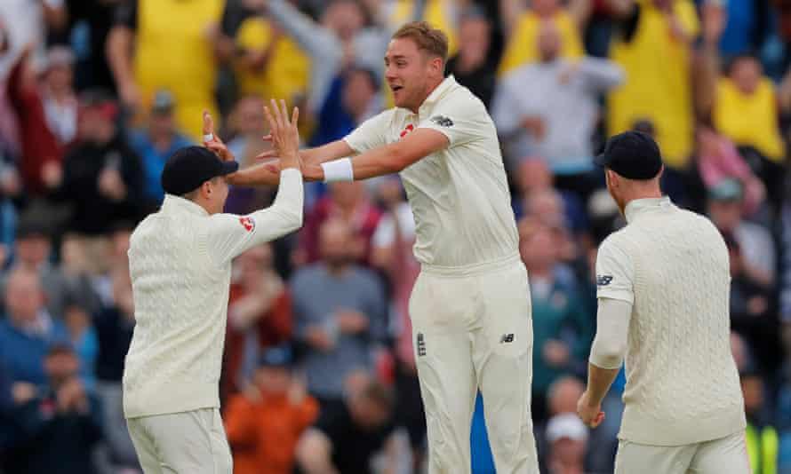 Stuart Broad celebrates the wicket of Travis Head.