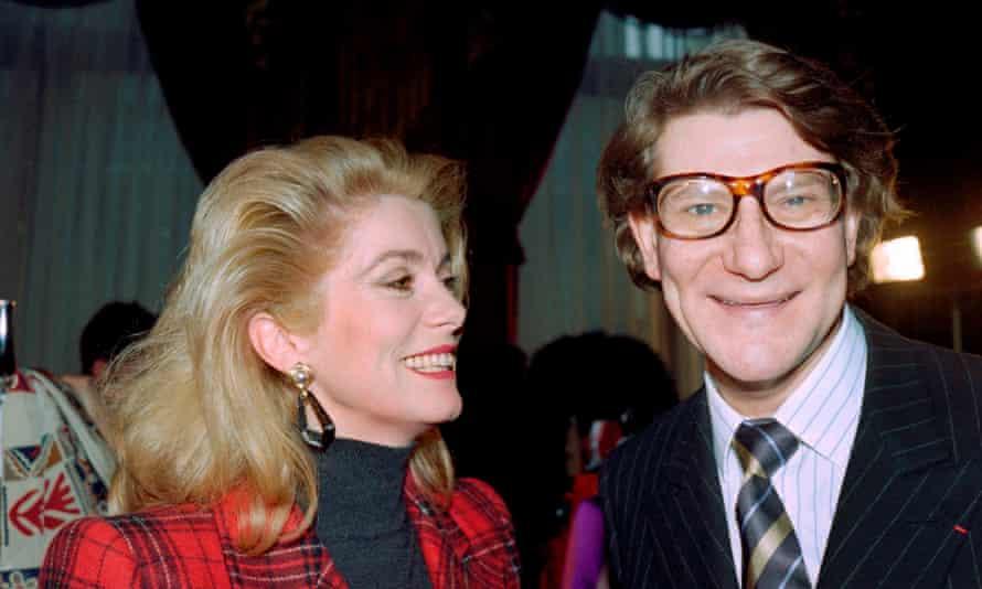 Catherine Deneuve and Yves Saint Laurent in 1987.