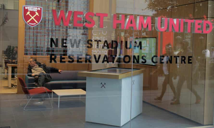 The West Ham United stadium reservations centre in the Westfield shopping centre, where supporters have been choosing their seats in the new stadium.
