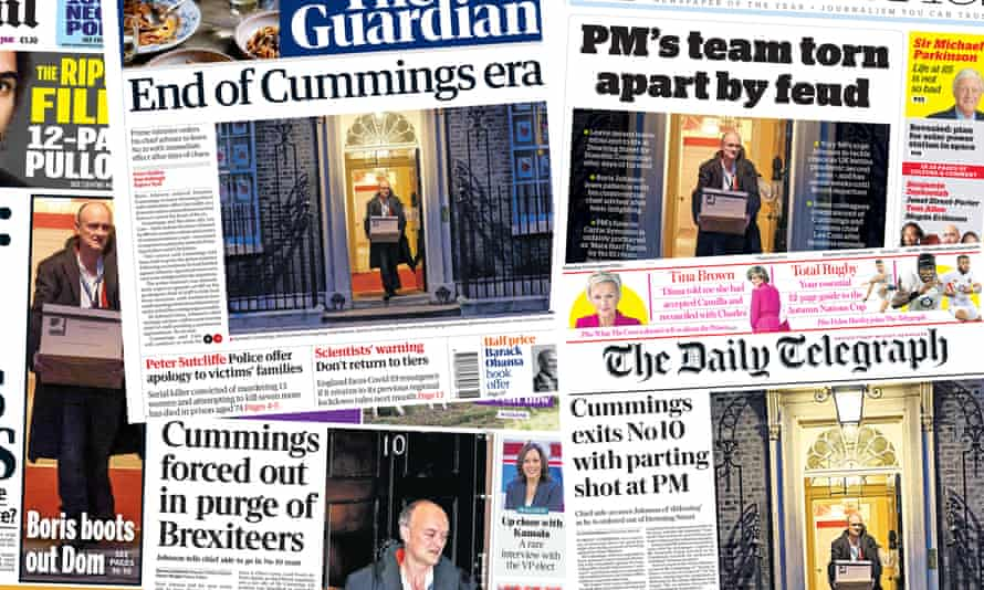 Front pages of the UK papers on Saturday 14 November after Dominic Cummings is forced out of No 10.