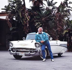 Kenny Rogers with his 1957 Chevrolet Bel Air convertible in Beverly Hills, Los Angeles, in 1990