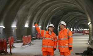 Andrew Adonis at a Crossrail site