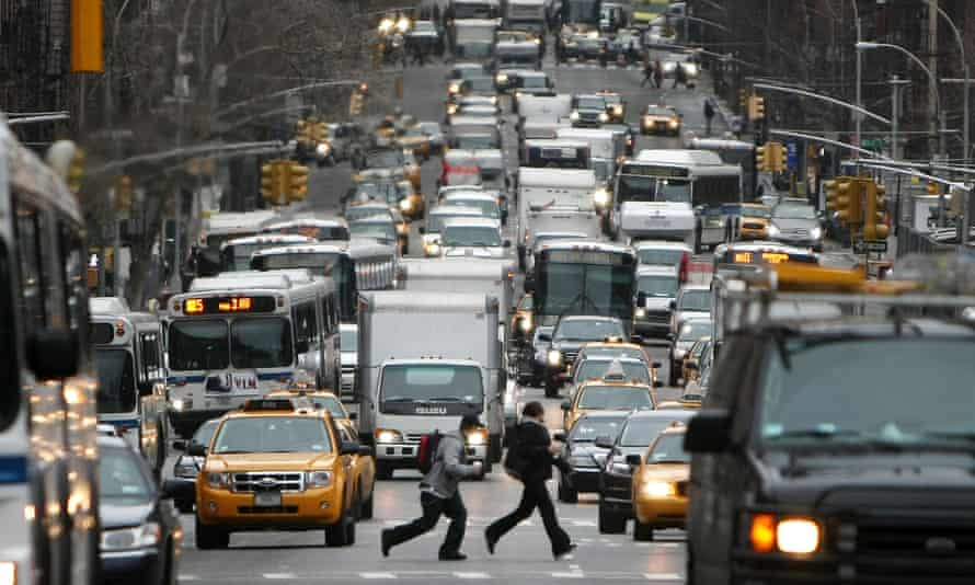 A traffic jam on Second Avenue, midtown Manhattan. In two weeks in late November 2013 four New Yorkers were killed by drivers on sidewalks.