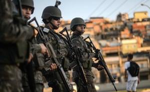 Brazilian marines in a favela